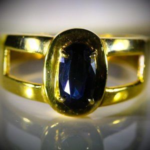 Jewelry - Blue Sapphire 1.38ct Solid 21K Yellow Gold Ring